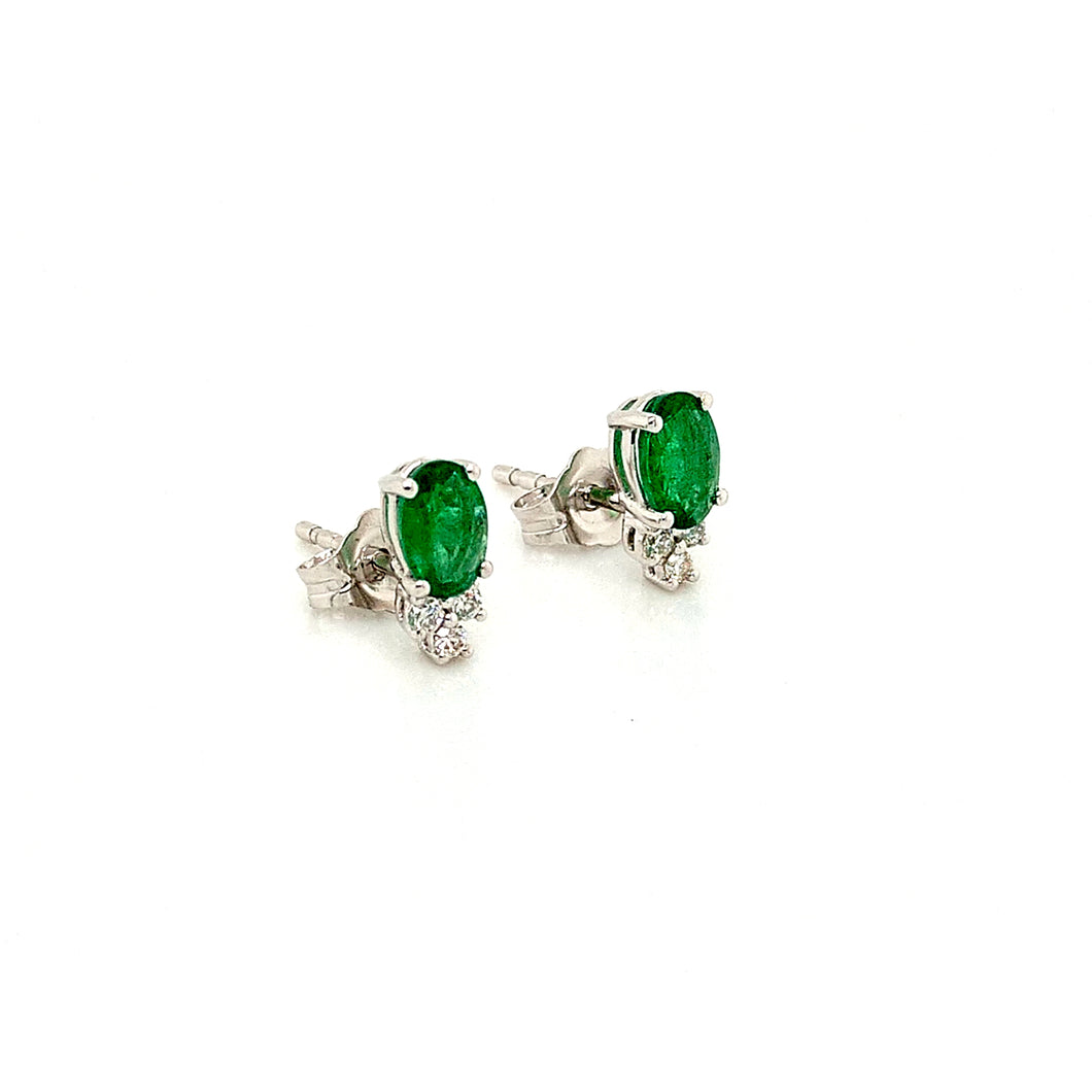 14K White Gold Emerald & Diamond Stud Earrings