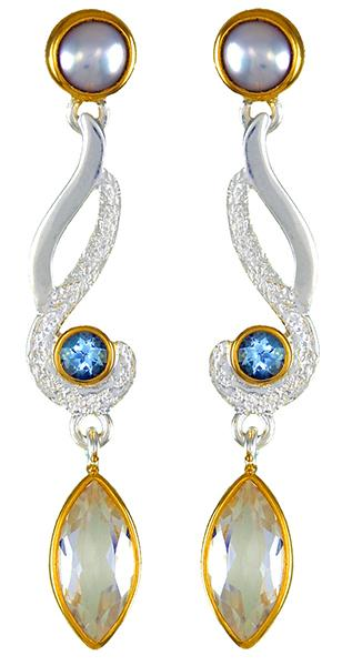Sterling Silver & 22K Gold Vermeil Gemstone Earrings with White Freshwater Pearl, White Quartz and Baby Blue Topaz