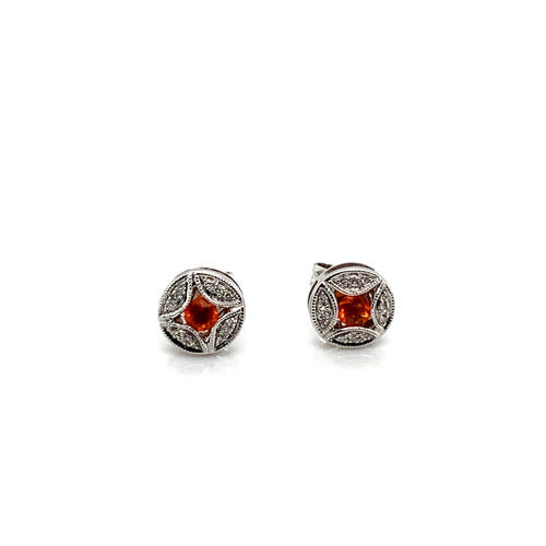 14K White Gold Fire Opal & Diamond Stud Earrings