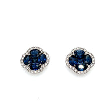Load image into Gallery viewer, 14K White Gold Sapphire Clover Style Earrings