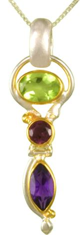 Sterling Silver Gemstone Necklace with Peridot, Rhodolite Garnet and Amethyst