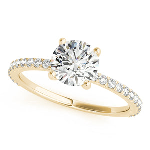 Custom Made Solitaire Diamond Yellow Gold Engagement Ring