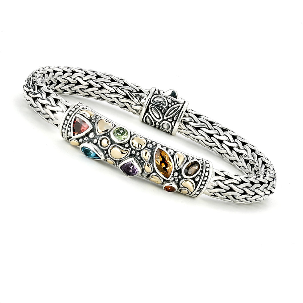 Samuel B. Sterling Silver & 18K Yellow Gold Accent Multi-Gemstone Wheat Bracelet
