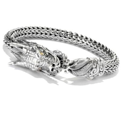 Sterling Silver & 18K Yellow Gold Accent Mens Tulang NAGA Dragon Bracelet