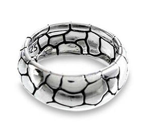 Samuel B. Mens Sterling Silver Domed Band Ring with Pebble Texture