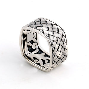 Samuel B. Sterling Silver Basket Weave Pattern Square Ring Finger Size 8