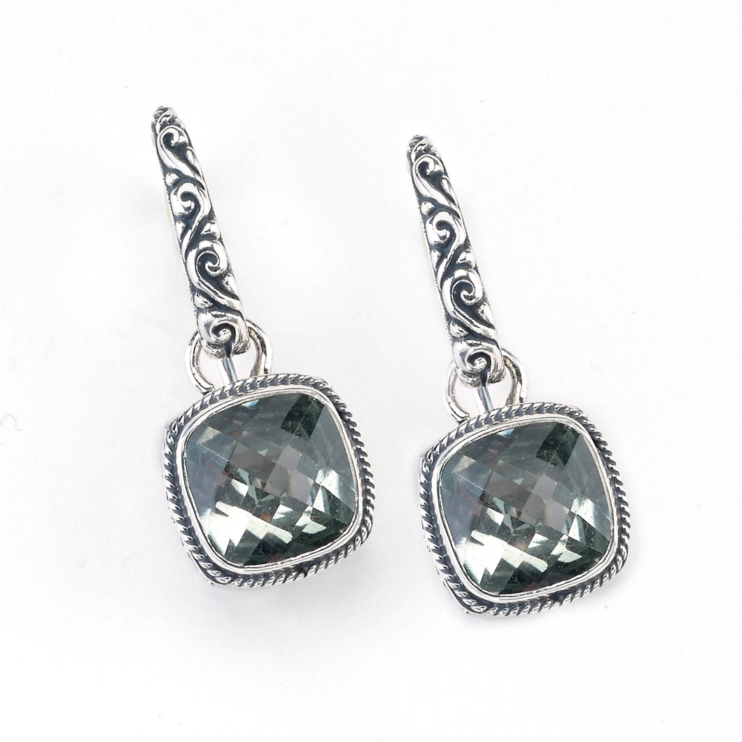 Samuel B. Sterling Silver Green Quartz Drop Earrings
