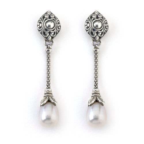 Samuel B. Sterling Silver Drop Earrings with Pearls