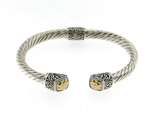 "Samuel B. Sterling Silver & 18K Yellow Gold Accent Twisted Cable Bangle 6.5"" Wrist Size"