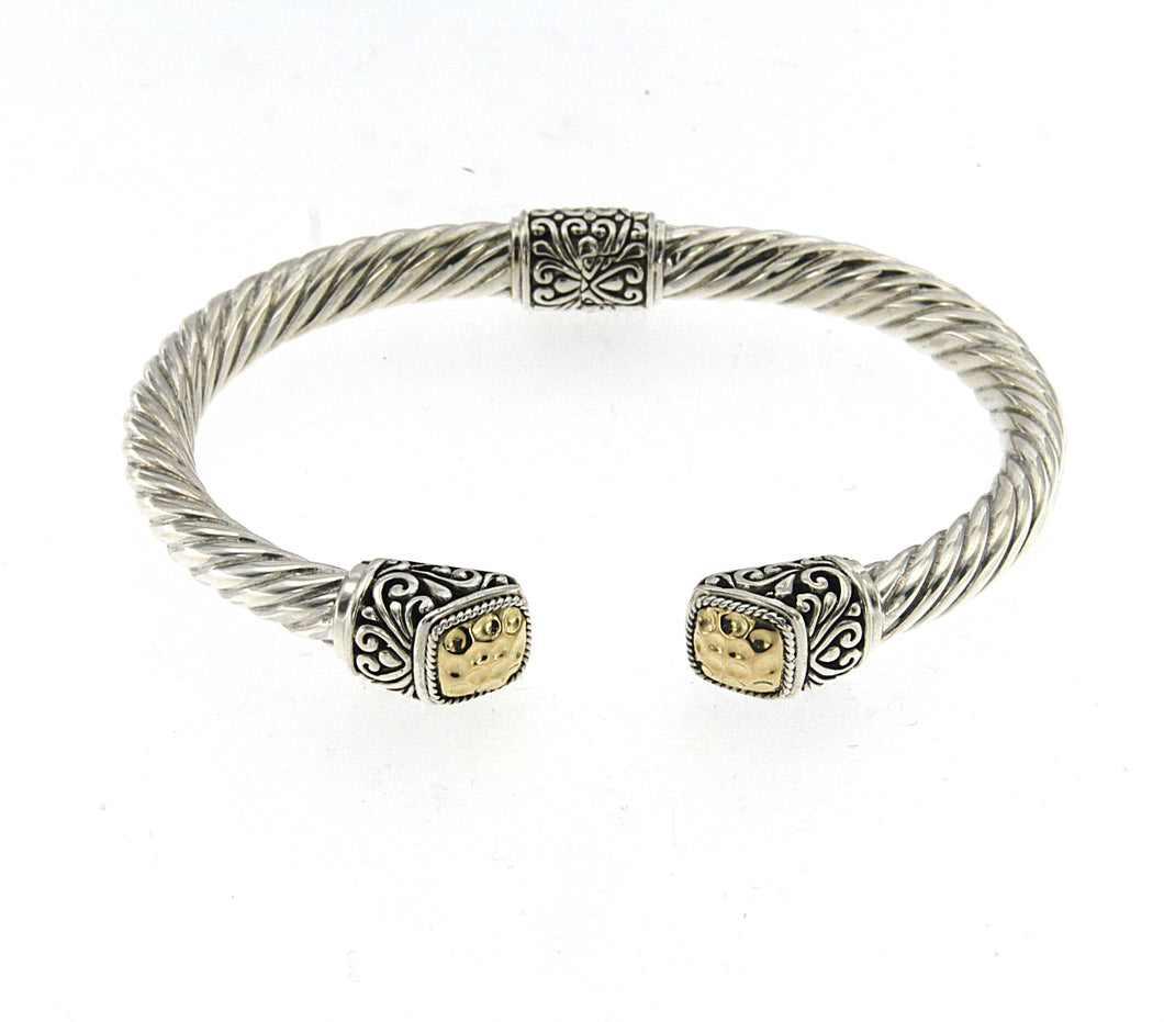 Samuel B. Sterling Silver & 18K Yellow Gold Accent Twisted Cable Bangle 6.5