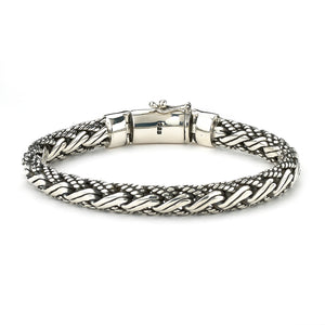 "Samuel B. Sterling Silver Gents Woven Bracelet with Twisted Padian Chain 9"" Long"