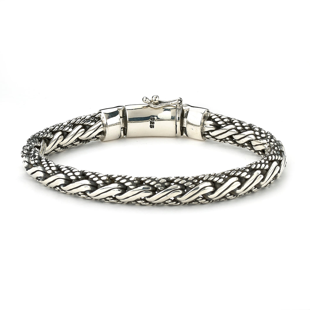 Samuel B. Sterling Silver Gents Woven Bracelet with Twisted Padian Chain 9
