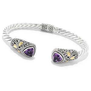 Samuel B. Sterling Silver & 18K Yellow Gold Accent Twisted Cable Cuff Bracelet with Trillion Amethyst End Caps