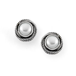 Samuel B. Sterling Silver Mabe Pearl Stud Earrings with Twisted Rope Design