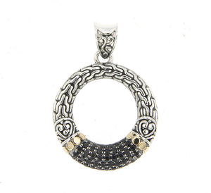 Samuel B. Sterling Silver & 18K Gold Accent Black Spinel Open Circle Pendant