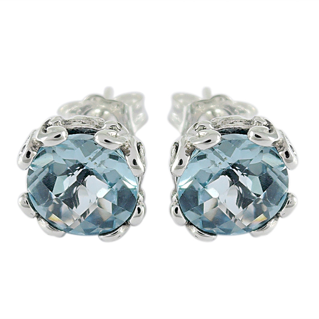 Samuel B. Sterling Silver Blue Topaz Stud Earrings 7mm