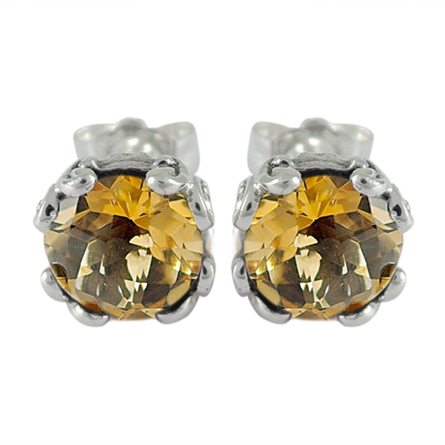 Samuel B. Sterling Silver Citrine Stud Earrings 7mm