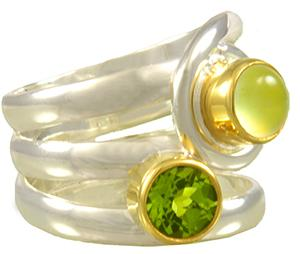 Sterling Silver & 22K Gold Vermeil Gemstone Ring with Prehnite And Peridot
