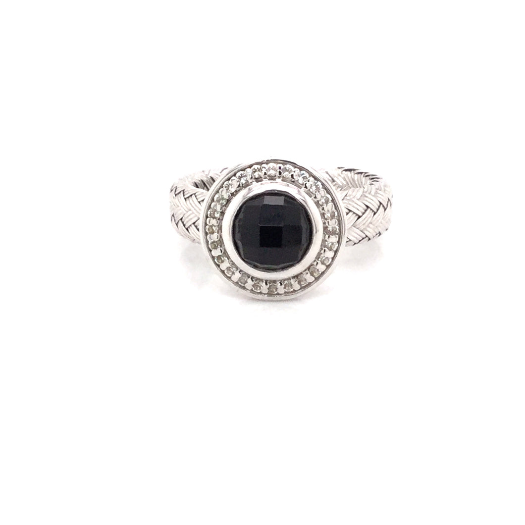 Sterling Silver Onyx & Cubic Zirconia Woven Ring