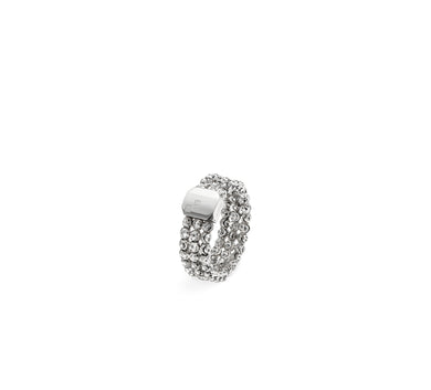 Officina Bernardi Sterling Silver Moon Cut 3 Row Ring