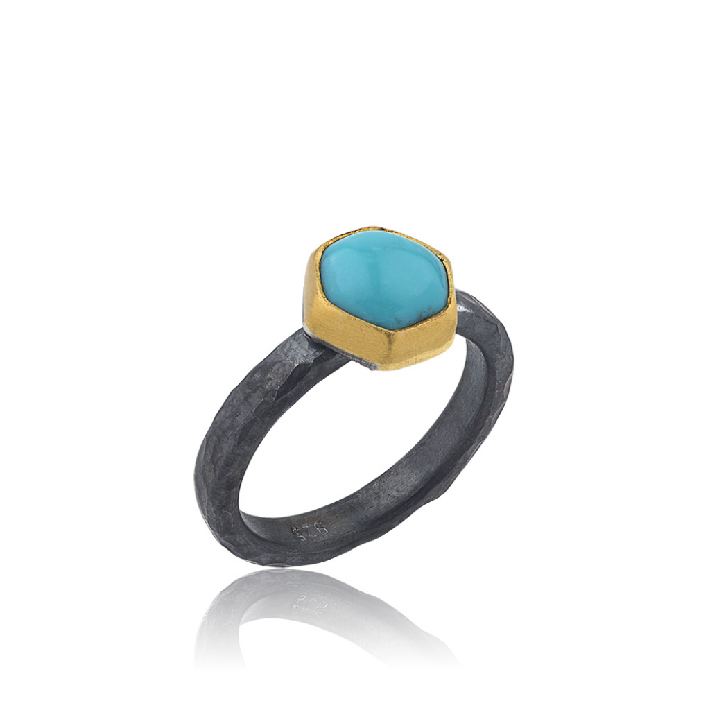 Lika Behar 24K Gold & Oxidized Sterling Silver Hexagonal Kingman Turquoise Ring