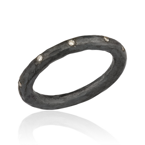 Lika Behar Oxidized Sterling Silver  Ring with Burnish Set Diamonds