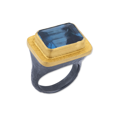 Lika Behar 24K Gold & Oxidized Sterling Silver Large London Blue Topaz Ring