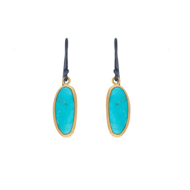 Lika Behar 24K Yellow Gold & Oxidized Sterling Silver Kingman Turquoise Drop Earrings