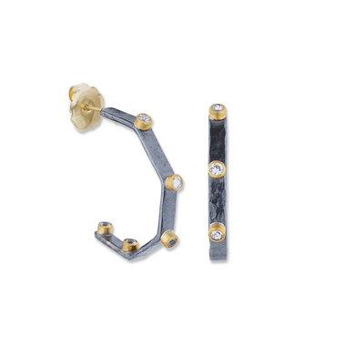 Lika 24K Yellow Gold,  Oxidized Sterling Silver & White Sapphire Hoop Earrings