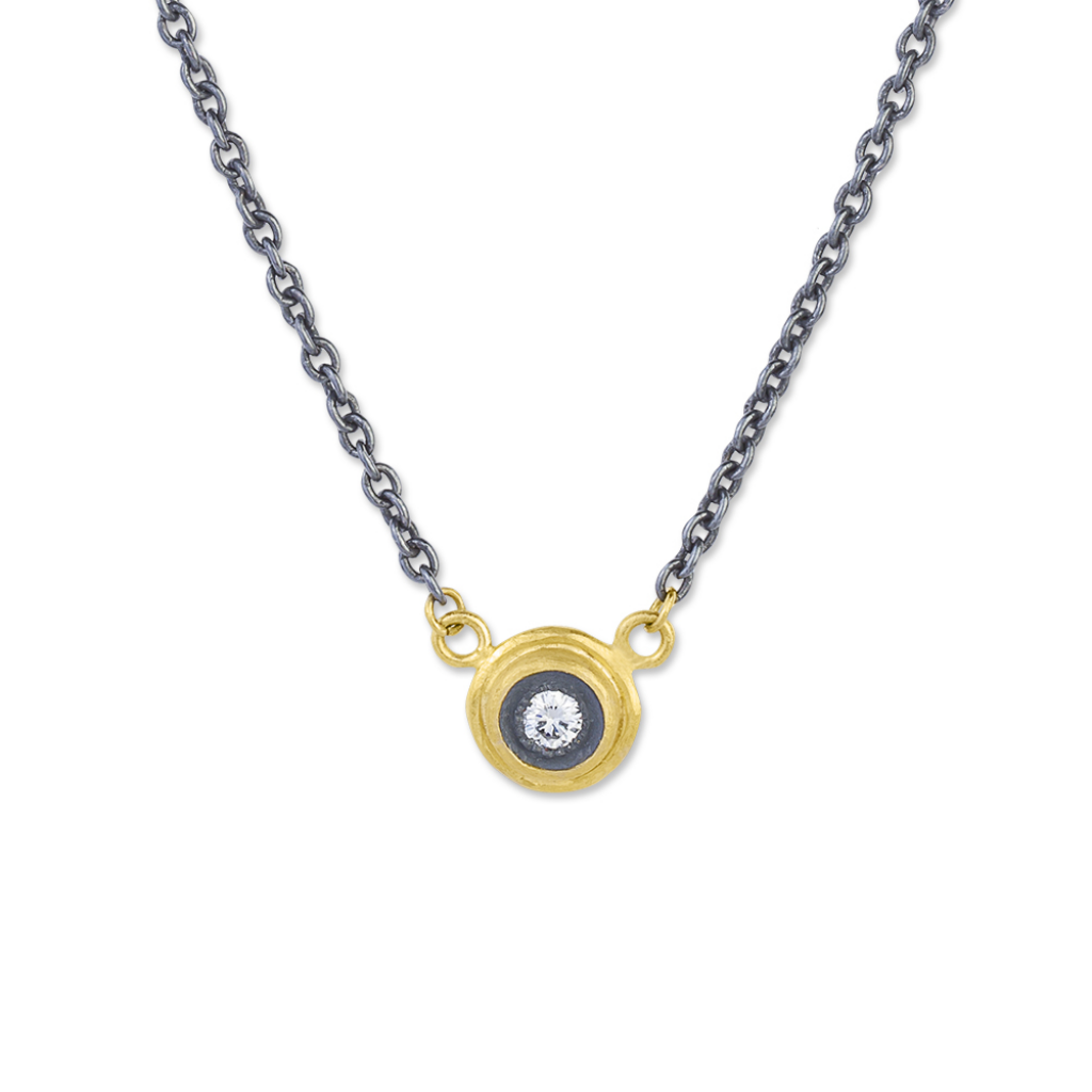 Lika Behar 24K Yellow Gold, Oxidized Sterling Silver & Diamond  Necklace