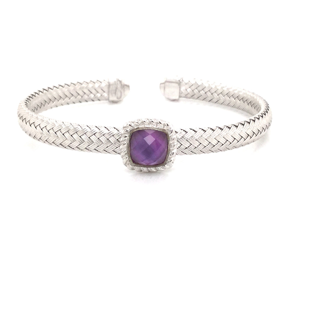 Sterling Silver Mesh Cuff With Purple Stone