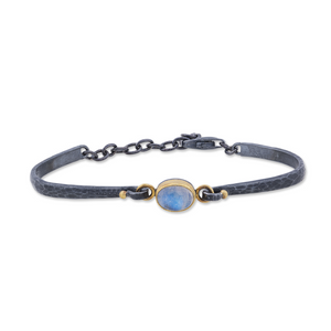Lika Behar 24K Yellow Gold & Oxidized Sterling Silver Moonstone Bracelet