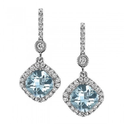 14K White Gold Aquamarine Dangle Earrings with Diamonds