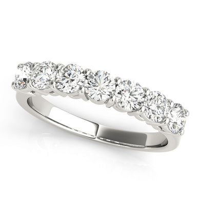 14K White Gold 7 Stone Diamond Band .50ct Total Diamond Weight