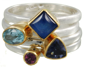 Sterling Silver & 22K Gold Vermeil Ring With Baby Blue Topaz, Painted Rainbow Moonstone, Iolite and Rhodolite Garnet
