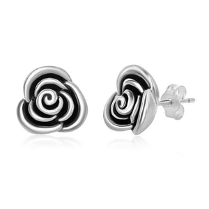 Sterling Silver Oxidized Small Rose Stud Earrings