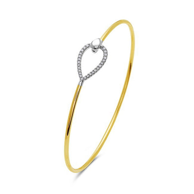 14K Yellow & White Gold Flexible Diamond Tear Drop Bracelet