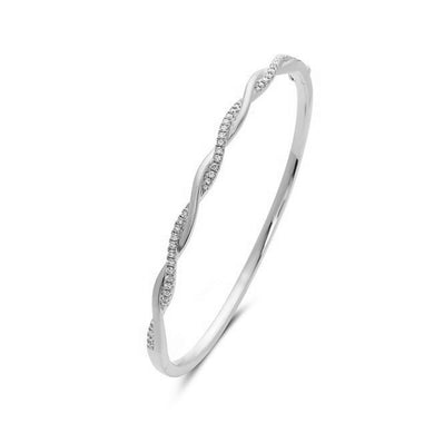 14K White Gold Twist Diamond Cuff Bracelet .40 Total Diamond Weight