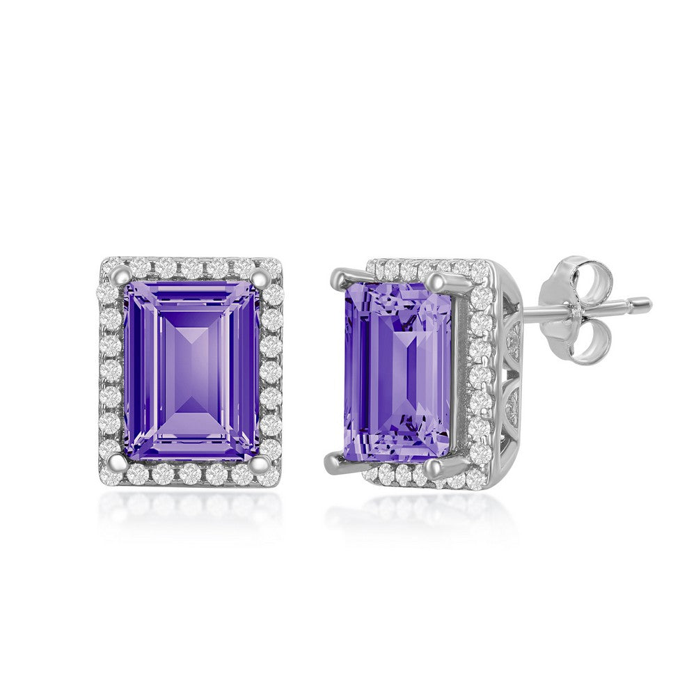 Sterling Silver Tanzanite & CZ Halo Stud Earrings