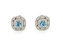 Load image into Gallery viewer, 14K White Gold Aquamarine And Diamond Halo Stud Earrings