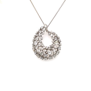 "14K White Gold Scatter Set Diamond ""Galaxy"" Necklace; 2ct Total Diamond Weight"