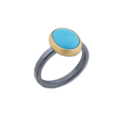 Lika Behar 24K Gold & Oxidized Sterling Silver Sleeping Beauty Turquoise Ring