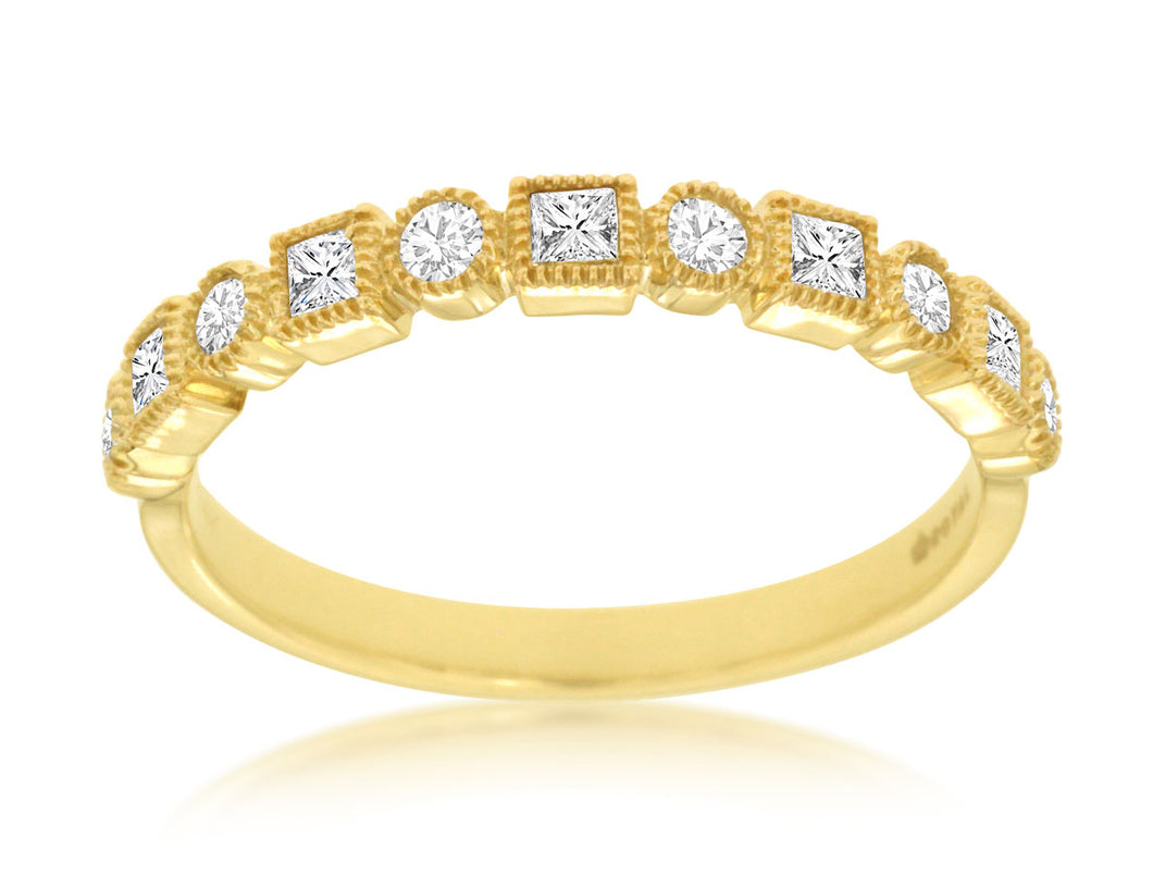 14K Yellow Gold Diamond Band with Round and Princess Cut Diamonds