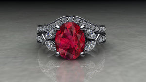 Custom Made Ruby & Diamond Platinum Ring