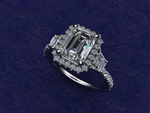 Load image into Gallery viewer, Custom Made Emerald Cut & Trapezoid Platinum Engagement Ring