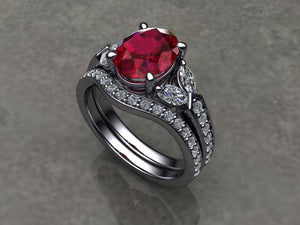 Custom Made Ruby & Diamond Platinum Ring with Matching Wedding Band