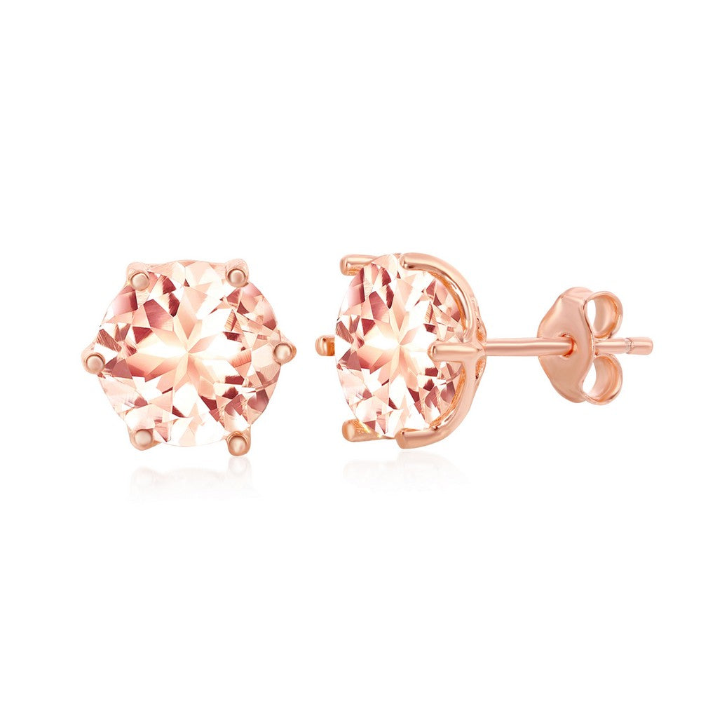 Sterling Silver Rose Gold Plated Morganite CZ Stud Earrings