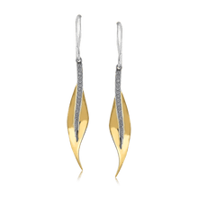 Load image into Gallery viewer, 18K Yellow Gold Leaf Design Drop Earrings
