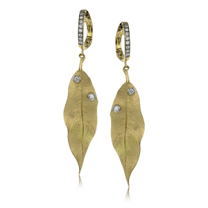 18K Yellow Gold Leaf Drop Earrings