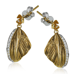 Simon G. 18K Yellow Gold Butterfly Wing Earrings with Diamond Accents